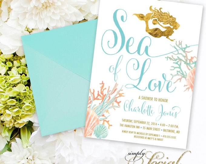 Under the Sea Mermaid Bridal Shower Invitation - Boho Sea of Love Coral Turquoise Faux Gold Foil Beach Invitation Gold Glitter Watercolor