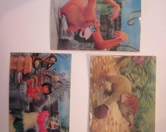 Lenticular 3D Jungle Book Postcards - Mowgli Baloo Hathi and King Louie - Three Post Cards - 1967 Disney Movie - W C Jones Publishing