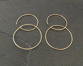 Gold hoop earrings Small minimalist dainty jewelry; Modern Hoops