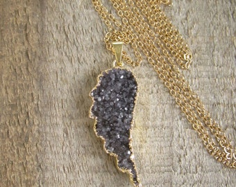 Druzy Necklace, Druzy Angel Wing Necklace, Agate Druzy Necklace, 14K Gold Fill