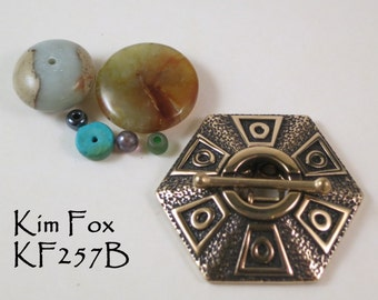 Six-Sided Hexagon 4 stranded Toggle Clasp in Bronze by Kim