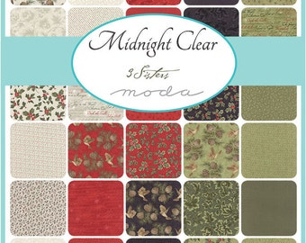 "Moda Midnight Clear Charm Pack, (42) 5"" Quilt Fabric Squares by 3 Sisters Quilting Sewing"