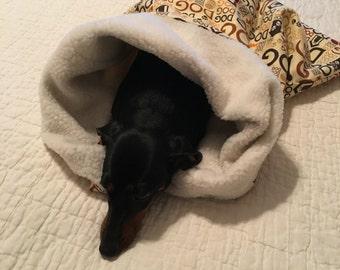Small Dog / Dachshund Tan with DOG Print Snuggle Sack / Sleeping Bag