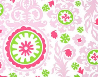 Premier Prints Suzani Maggie Candy Pink, Pink and Lime greeen damaks, fabric by the yard