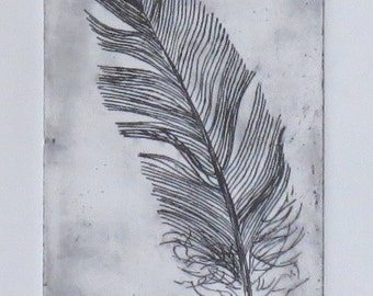 Original feather etching print artist proof print black and white monochrome