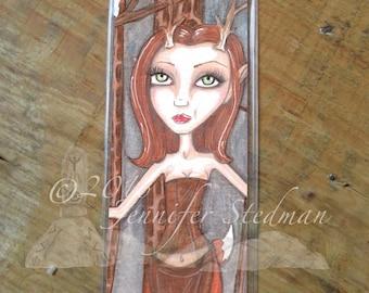 Red deer, Faun, Fantasy art bookmark, woodland creature, big eyes, doe, Auburn red haired big eyed beauty
