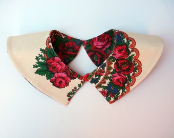 Peter Pan Collar, Detachable Collar, Collar Necklace, Blouse Collar, Floral Collar, White Collar