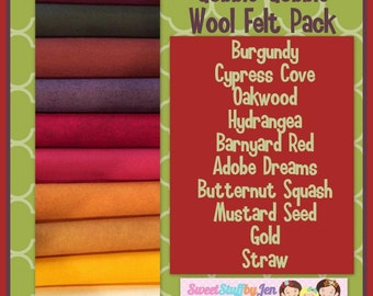 "Fall Wool Felt Bundle-Gobble Gobble Autumn-Thanksgiving-Fall Inspired Wool Felt-9x12"" Sheets Wool Felt-Craft Felt-Wool Blend Merino Felt"