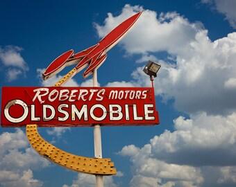 Neon Oldsomobile Sign Photo - Roberts Motors Auburn - Neon Rocket 88 Sign - Fine Art