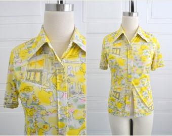 1970s Yellow Landscape Shirt