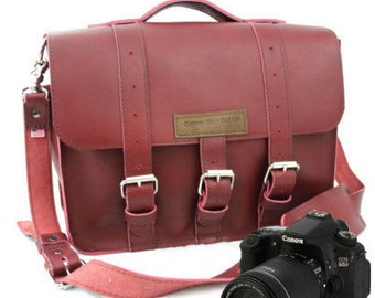 "15"" Red Burgundy Sonoma Buckhorn Leather Camera Bag - 15-BUC-RED-LCAM"