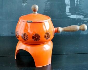 Vintage Orange Fondue Set - 3 piece set, Orange Enamel Pot, Wood-Handled Pot. Free Shipping within the US!