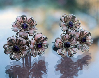 Pink Plastic Flower Earrings with Rhinestones, ca. 1950s