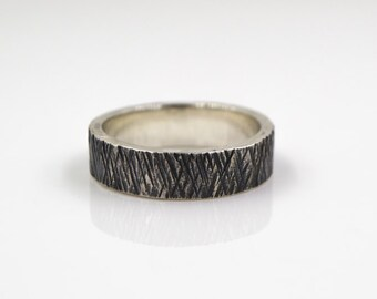 Men's Silver Ring - Hammer Textured Band - Sterling Silver