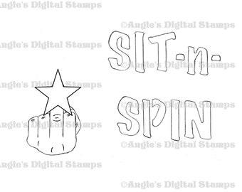 Sit n Spin Quote Digital Stamp Image