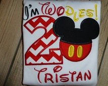 I'm TWOdles Mickey Mouse 2nd Birthday T Shirt or Bodysuit with Red and White Chevron and Free Personalization