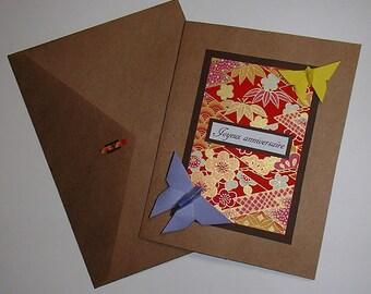 Carte d'anniversaire faite à la main-Carte en Origami-Joyeux Anniversaire-Carte de fête en origami fait main-折り紙 en FRANÇAIS-