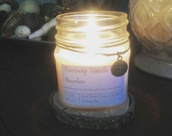 Mason Jar Soy Candle - Kentucky Vanilla Bourbon - Autumn Candle - Farmhouse Vintage Decor