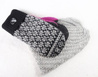 Hat and Mittens Set BLACK & WHITE with FUCHSIA Mitts and Slouchy Beanie Fleece Lined Sweater Wool Mittens and Hat Stocking Stuffer Gift Set
