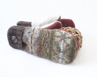Wool Mittens GREEN & BROWN Fair Isle Felted Sweater Wool Fleece Lined Brown Mittens Eco Gift for Her Under 50 Stocking Stuffer WormeWoole