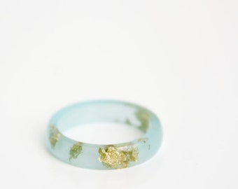 boho jewelry size 7.5 | thin smooth stacking eco resin ring | sea blue resin with gold metallic flakes | gold leaf flakes
