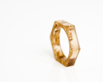 minimalist ring, tiger eye brown size 6 hex eco resin ring
