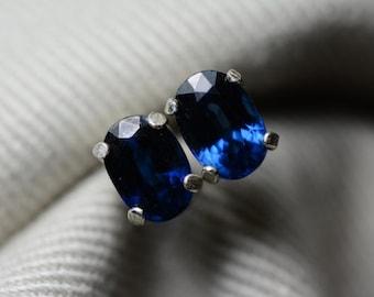Sapphire Earrings, Blue Sapphire Stud Earrings 1.45 Carat Appraised at 1150.00, September Birthstone, Genuine Sapphire Jewellery, Oval Cut