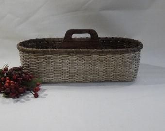 Silverware-Paper Plate Basket / Divided Carrier Basket / Organizer Basket / Handwoven Basket