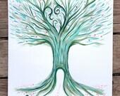 tree of life art, Green tree, folk illustration, Tree of life, bar mitzvah tree, woodland acrylic painting, green and pink, fairytale tree