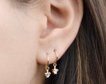 Tiny Zirconia Drop Earrings, Sterling Silver & Gold Plated, Pendulum Earrings, Minimalist Dangle Earrings, Fashion Jewelry, Gift mom, DGE001