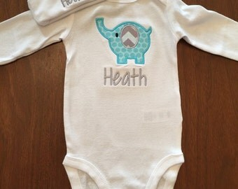 Elephant applique Baby hat and onsie set