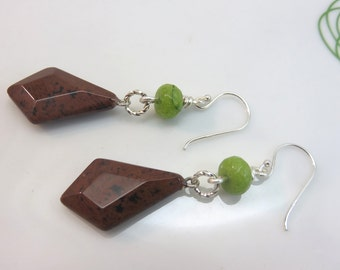 Mahogany obsidian earrings -  brown gemstone earrings - brown earrings - peridot green earrings - earthy earrings sterling silver ear hooks
