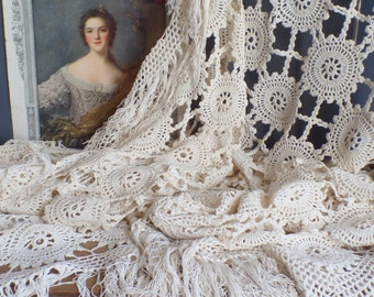 French crochet macrame cotton 1900s bed cover  Tablecloth  Shawl  Long fringes