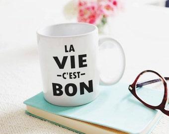 La Vie Cest Bon Coffee Mug Life Is Good Inspirational Coffee Mug French Coffee Graduation Gift Eiffel Tower Christmas Gift Teacher Gift