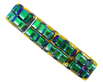 """Dichroic Barrette / Yellow Emerald Jade Green Rainbow Multicolor Rock Candy Fused Glass - 2.5"""" - Chunky Layers- Small"""