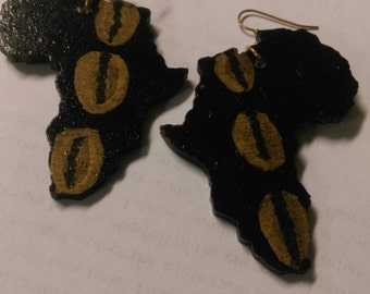 Black Wood Africa Earrings with Gold Painted Cowrie Shell Design