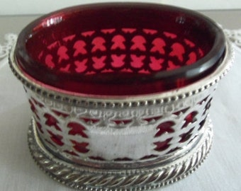 Antique Cranberry Glass Salt Cellar   Silverplate Frame
