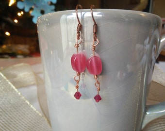 Pink Cat's Eye Glass and Crystal Bead Earrings