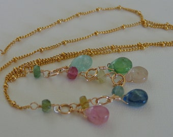 Afghanistan tourmaline necklace gemstone gold filled necklace
