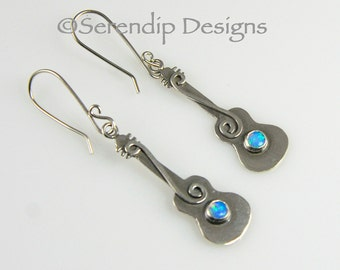 Silver Guitar Earrings with Blue Opals and Shiny Spirals, October Birthstone Guitar Earrings