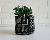 Black and White Tribal Mudcloth Plant Cover  - Fabric Planter Pot - Modern Bohemian Decor