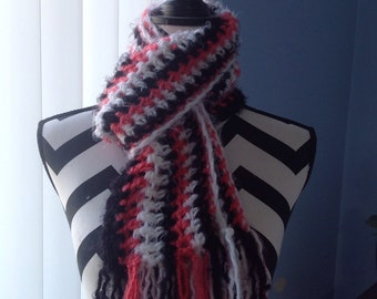Soft hand crocheted scarf. Can be made in many different colors.