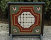 Primitive Wood Solitaire Game Board Folk Art Gameboard