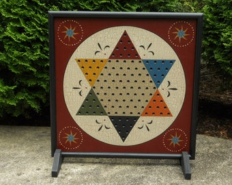 "19"", Chinese Checkers, Game Board, Folk Art, Wood, Game Boards, Primitive, Wooden, Board Game"