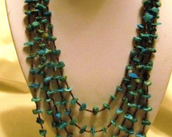 Vintage Native American Turquoise Necklace 5 Strand Kingman Arizona Turquoise