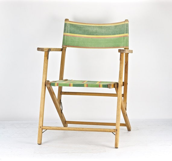 Vintage Striped Folding Deck Chair Vintage Wood Beach Chair