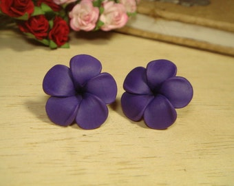 Sweet Purple Plumeria Frangipani Stud/Post Earrings (E62)