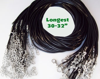 "LONGEST - 25 Black Cord Necklaces 30-32"" inch 2mm"