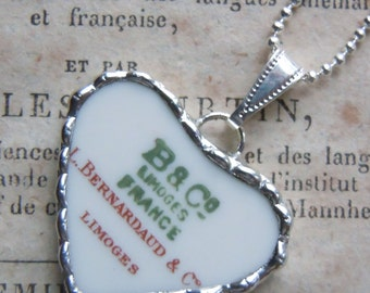 Fiona & The Fig Victorian Era-Back Stamp-China Mark-French Limoges - Broken China Soldered Necklace Pendant Charm-Jewelry