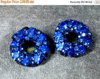 Sale Pre Holliday Vintage Signed WARNER 'Midnight' Royal Blue Rhinestone Earrings, Japanned Black, Clip On